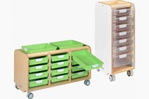 Glide and tilt tote tray runner system - available in three heights and four finishes