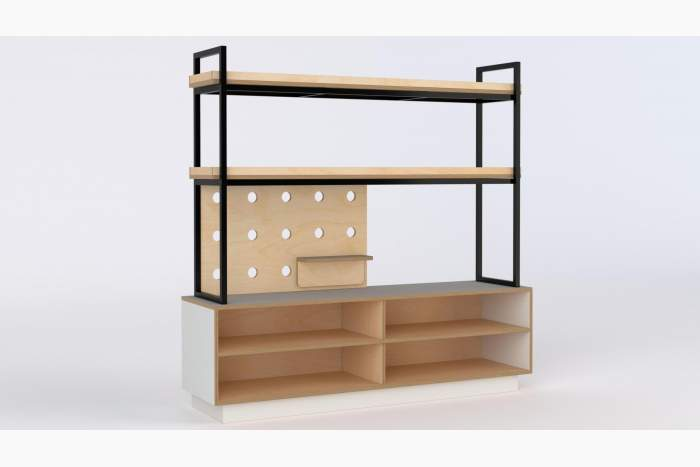 Open storage shelving with steel display shelving WHITE