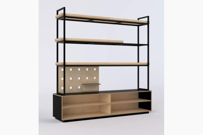 Open storage shelving with steel display shelving